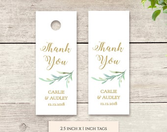 """Small Favour Tags 2.5x1"""" Thank You Tag Printable Template Wedding Favor, Wedding Thank You Tags Gift Tags, Greenery, Edit in WORD or PAGES"""
