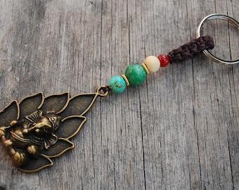 Elephant God Keychain,Bronze Ganesh Elephant God,Gemstone Beads Keyring,Macrame Friendship,Hemp Keychain,Handmade Keychain,Good Luck