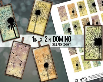1x2 Digital Collage Sheet Domino Dandelions 1x2 inch Collage Sheet for Pendants Magnets Scrapbooking Journaling JPG D0049