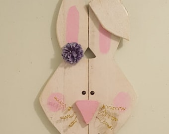 Pallet Wood Bunny, Easter Decor, Painted Rabbit, Wall Hanging, Upcycled Decor, Handmade Gift, Easter Bunny, Rustic Accent, White Bunny, Wood