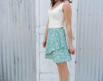 Organic Wrap Skirt - 100% Organic Cotton Midi Skirt - Layers Nicely - Custom Made in the USA by Yana Dee