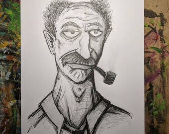 A2 Pencil / Pen Drawing / Original Art - Mr. No One