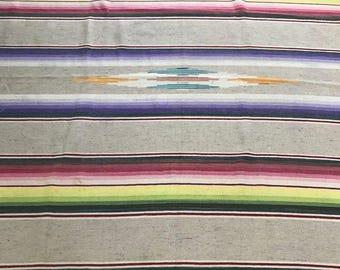 Vintage Mexican Serape Saltillo Blanket 1920-40s