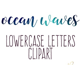 Ocean Waves lowercase Alphabet Clipart