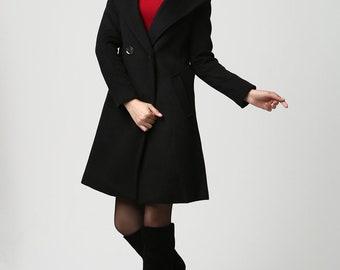 oversized coat, Black coat, hoodie coat, wool coat, womens coats, wool jacket, mod clothing, custom made clothing, hooded jacket 1123