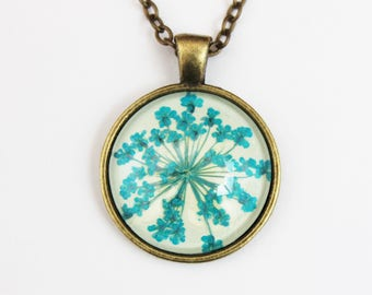 Turquoise pressed flower necklace
