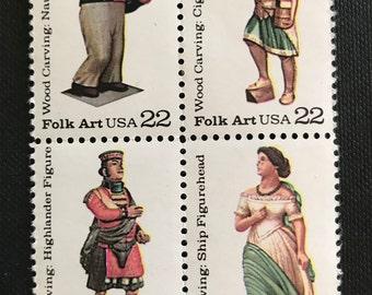 Scot Stamp #2240-43 1986 1 Plate Block Folk Art 22 cents