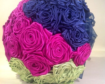 Color Blocked Satin Rose Bridal Bouquet