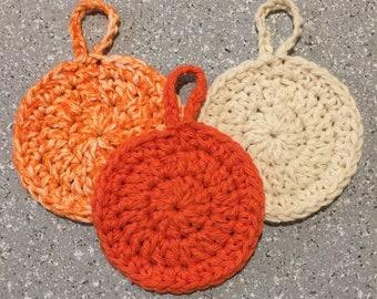 Crocheted Orange, Ecru, Orange/Ecru Facial Pads 3 Pk Set - Eco Friendly - Makeup Removal - Drying Loop