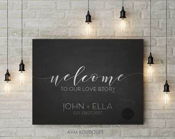 CUSTOMIZED Welcome To Our Love Story LARGE Wedding Sign Digital File 16x20 Chalkboard