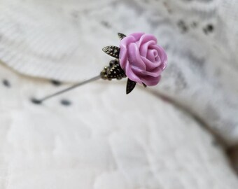 Victorian Hat Pin. Antique Vintage Inspired Purple Floral Rose & Filigree Brass, Scarf Pin Stick Pin DISPLAY or USE! Strong, Clutch Included