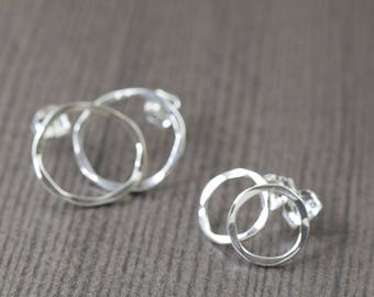 Small sterling silver stud earrings with rippled design available in 2 sizes (pick one pair)