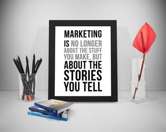 Marketing Quote Printable, Selling Quote, Sell Motivation Quote, Business Quotes, Stories Quotes Print, Office Decor, Office Art
