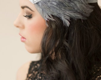 Gatsby Wedding Headband Art Deco Headband Roaring 20s Gray Feather Headband, 1920s Headpiece, Silver Flapper Headband 1920s Bridal Headpiece