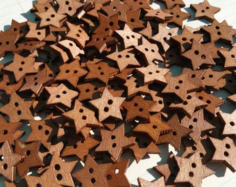 """Wood Star Buttons - Dark Wooden Stars Sewing Buttons - 13/16"""" Wide"""