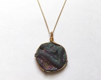 Druzy Pendant Necklace, Rainbow Quartz Druzy, Crystal Necklace