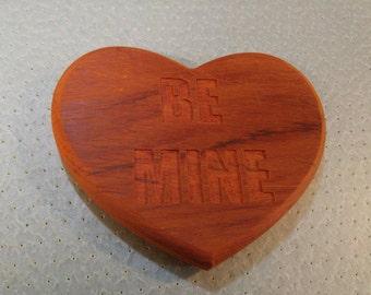 "6.5x5.5"" Padauk Valentine Heart ""Be Mine"" trivet"