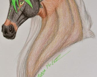 Original Horse Fantasy Colored Pencil Drawing