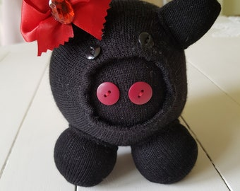 Homemade Sock Toy Black Piggy