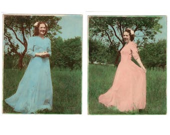 Two vintage hand colored 8x10 photos