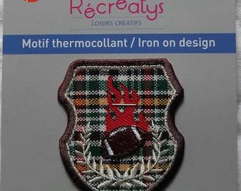Coat of arms Crest Sport RUGBY & LAURELS-fusible L.4.5cm - 5.2 cm H