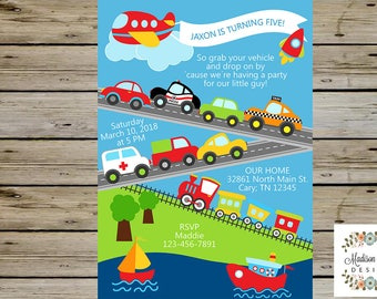 TRANSPORT Boy BIRTHDAY INVITATION, Transportation Vehicles, Airplane Rocket Car Truck Train Boat, Boy Transport Invite, Digital Printable