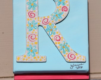 Minature Monogram Letter R Painting on Easel: Original Acrylic Painting on Stretched Canvas, 4x4 inches