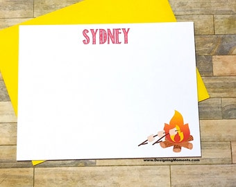 Camp Stationery - Camp Note Cards - Sleepaway Camp Cards - Camping Trip - Notes from Camp - Smores over the Fire Cards DM264