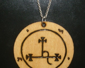 2.5 Inch Sigil of Lilith Pendant (Pyrography) You Pick the Color, Free US Shipping (Chain Not Included)