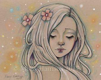 Original Fantasy Art - Dreamer - Original Drawing - Mixed Media, Ink, Marker, Colored  Pencil, Artwork by Molly Harrison