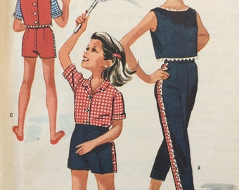 McCall's 6346 girls blouse, top and pants or shorts size 14 bust 32 vintag 1960's sewing pattern
