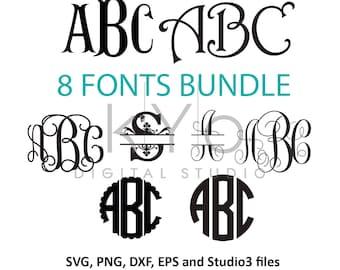 Cricut Monogram Font SVG bundle Monogram fonts for Cricut font svg Vine Monogram svg cut files for Cricut Silhouette Monogram letters svg