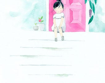Pretty In Pink - Giclée Watercolor Print for Children's Bedroom Decor
