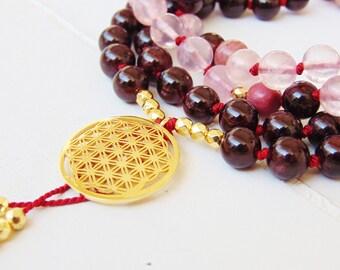 Rose Quartz Mala Beads,Garnet Mala Beads,Rhodonite Mala Beads,108 Mala Necklace, Mala necklace,Yoga necklace,Mala bead necklace,108 mala