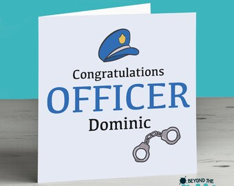 New Job Card For A Police Officer - Congratulations - Personalised - Leaving Card - Police Man - Policer Woman