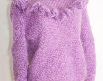 Lilac Soft Mohair Sweater, READY TO SHIP, Knitting sweater, Frill, knitted sweater, Hand Knit Sweater, Women's sweater, Knitting