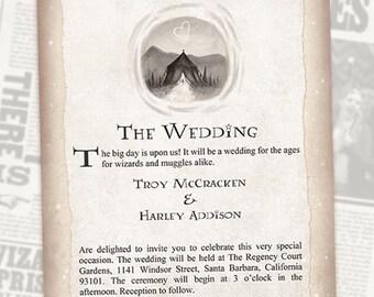 Harry Potter Wedding Invitation Set Geeky Custom Wedding