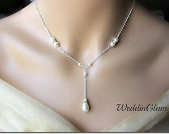 Pearl Rhinestone Simple Bridal Necklace, Wedding Necklace, Special Occasion, Bridal necklace, Pearl drop pendant V shape necklace, necklace
