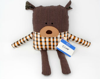 Teddy Bear-Plush Bear-Stuffed Bear-Bear Doll-Bear Softie-Bear Toy-Child's Gift-Birthday Gift-Toddler Gift-Lovie-UpCycled-Repurposed-Salvaged
