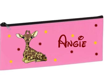 School pink giraffe personalized with name package