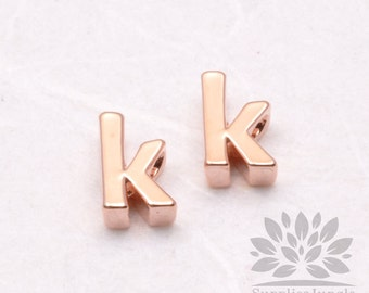 """IP003-GRG-K// Glossy Rose Gold Plated Simple Lower Case Initial """"k"""" Pendant, 2 pcs"""