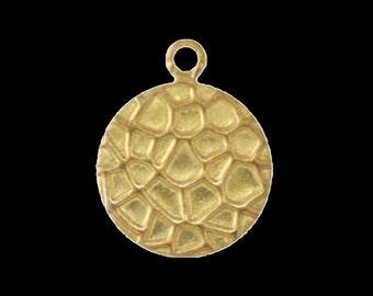 100 pcs 10 mm raw brass circletextured, raw brass  charms ,raw brass  pendant. raw brass findings 130R-34