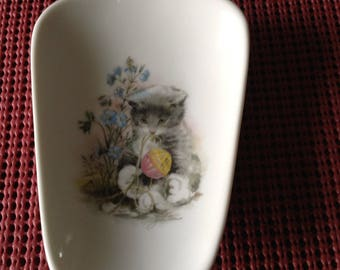 """Ceramic  Spoon Rests  with Kitten 5"""" Long and And 3 1/2 inches Wide at top"""