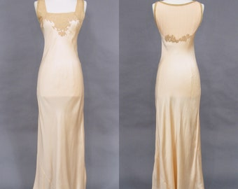 1930s Bias Cut Nightgown, 30s Pink Satin & Ecru Lace Boudoir Gown, 1930s Lingerie, Old Hollywood Glamour