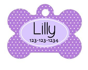 Personalized Dog Tag - Dog ID Tag - Personalized Bone Dog Tag - Pet Gift - Custom Pet ID Tag - Lavendar Purple Polka Dot