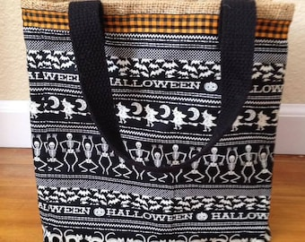 "Glow-in-the-Dark Halloween Bag - 10"" x 9"" x 6"" - Black, White, and Orange with Natural Burlap Lining"