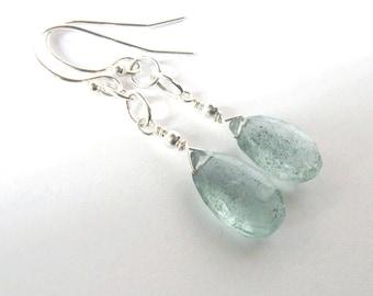 Moss Aquamarine Gemstone Teardrop Earrings, Sterling Silver, March Birthstone, Pastel Teal Stone, Ear Wire Options