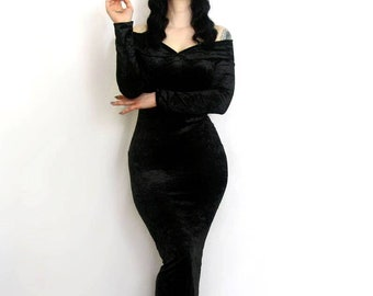 Morticia Addams inspired long sleeve off-the-shoulder floor length evening gown costume Black crushed Velvet made to Measure 1950s dress