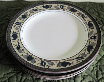 4 Vintage Mikasa Intaglio Arabella Pattern - Blue Green Brown Leaves - Salad Dessert Plates