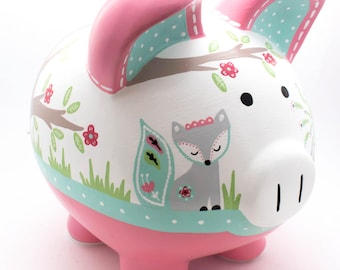 Fiona Fox Personalized Piggy Bank in Coral and aqua Peacock, Owl, Forest Theme